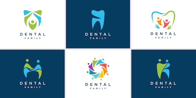 Coleção de logotipo odontológico familiar premium vector