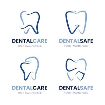 Coleção de logotipo odontológico linear e plano