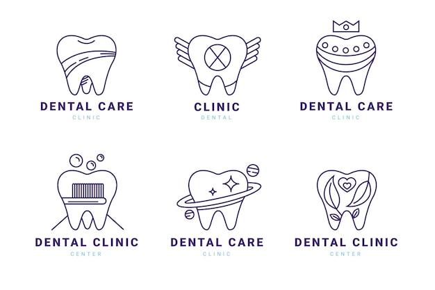 Coleção de logotipo odontológico plano linear