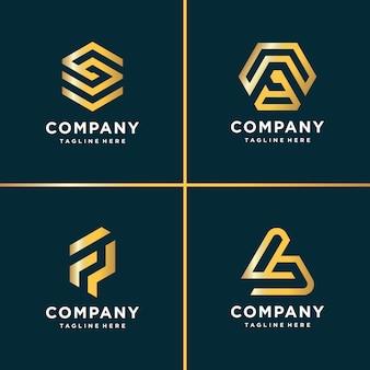 Coleção de logotipo ouro beleza, carta, construção, negócios, finanças, ouro