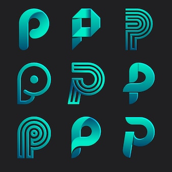 Coleção de logotipo p colorido gradiente