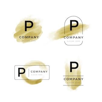 Coleção de logotipo p pintados à mão