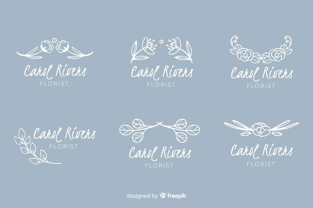 Coleção de logotipo para florista de casamento