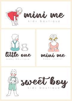 Coleção de logotipo pré-fabricada de bebê fofo