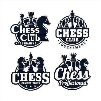 Coleção de logotipo premium com design de clube de xadrez