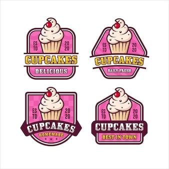 Coleção de logotipo premium com design de cupcakes
