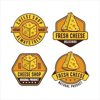 Coleção de logotipo premium com design de loja de queijos