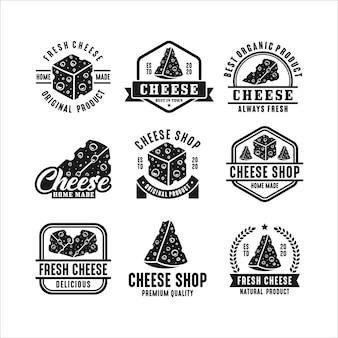 Coleção de logotipo premium com design de queijo fresco
