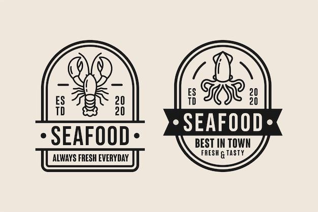 Coleção de logotipo premium de design de frutos do mar