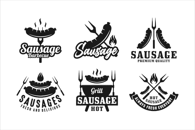 Coleção de logotipo premium de design de salsicha