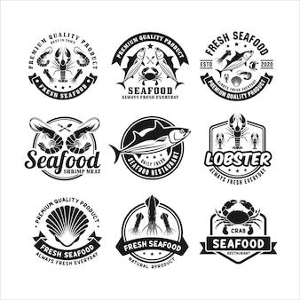 Coleção de logotipo premium de restaurante de frutos do mar