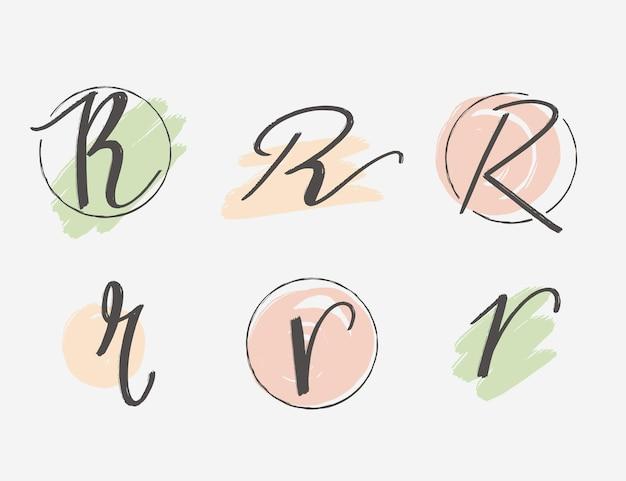 Coleção de logotipo r pintado à mão