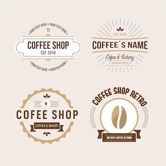 Coleção de logotipo retrô de cafeteria