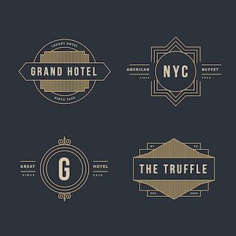 Coleção de logotipo retrô de luxo para diferentes empresas
