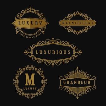 Coleção de logotipo retrô de luxo