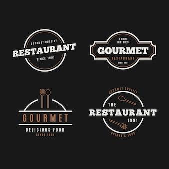 Coleção de logotipo retrô de restaurante em fundo preto