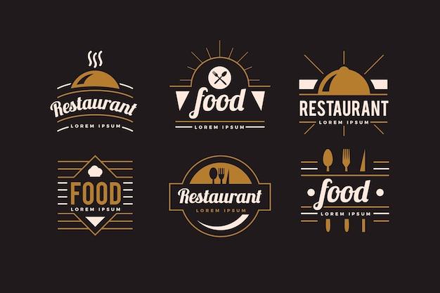 Coleção de logotipo retrô de restaurante