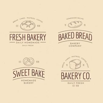 Coleção de logotipo retrô padaria