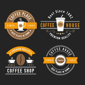 Coleção de logotipo retrô para café