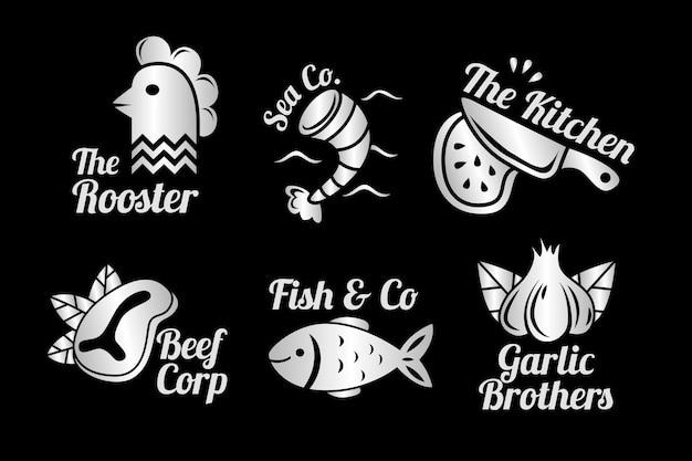 Coleção de logotipo retrô restaurante dourado com criaturas marinhas