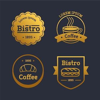 Coleção de logotipo retrô restaurante dourado