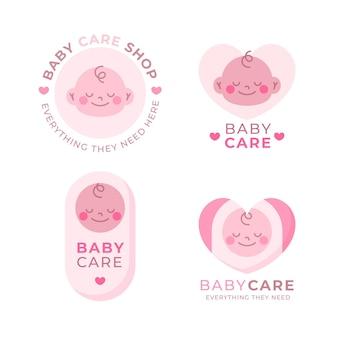 Coleção de logotipo rosa bebê