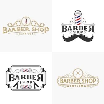 Coleção de logotipo vintage barbearia