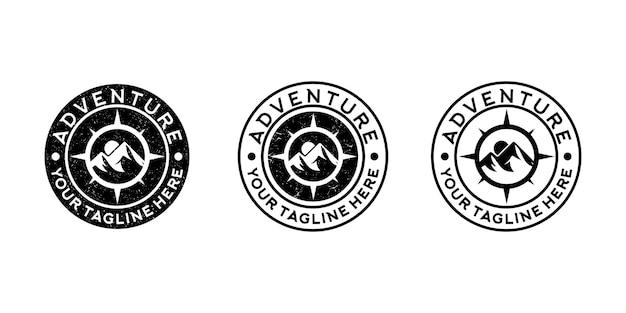 Coleção de logotipo vintage de aventura na montanha e logotipo de bússola