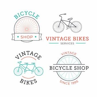 Coleção de logotipo vintage de bicicleta em tons pastel