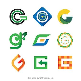 Coleção de logotipos abstratos de letra g em design plano