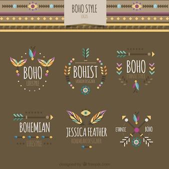 Coleção de logotipos boho coloridas em design plano