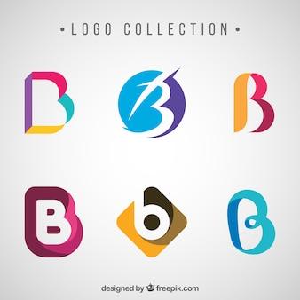 Coleção de logotipos coloridos abstratos com a letra