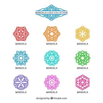 Coleção de logotipos coloridos de mandalas