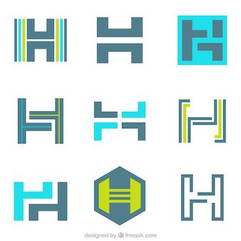 Coleção de logotipos com a letra