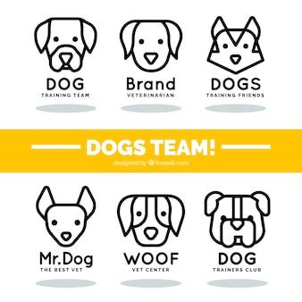 Coleção de logotipos com cães lineares