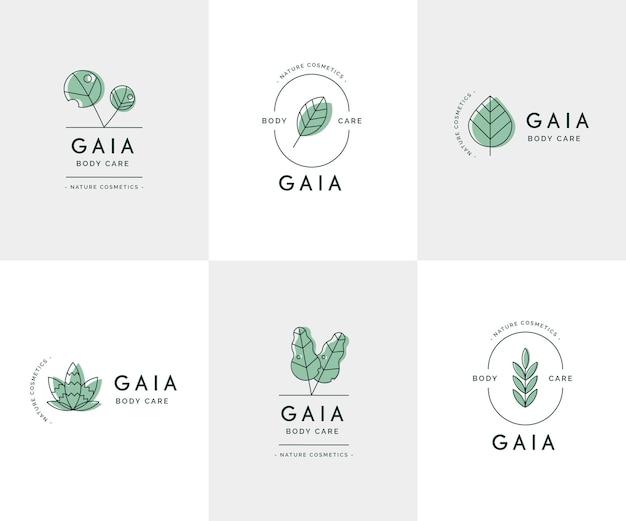 Coleção de logotipos da natureza cosméticos