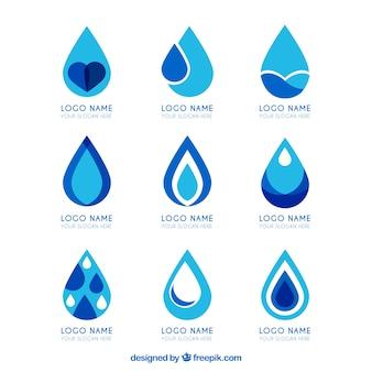 Coleção de logotipos de água para empresas em estilo simples