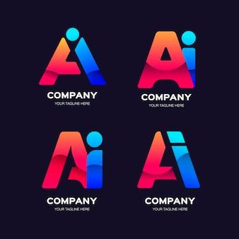 Coleção de logotipos de ai gradiente