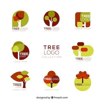 Coleção de logotipos de árvores para empresas