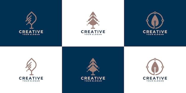 Coleção de logotipos de árvores
