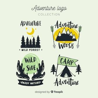 Coleção de logotipos de aventura desenhada de mão