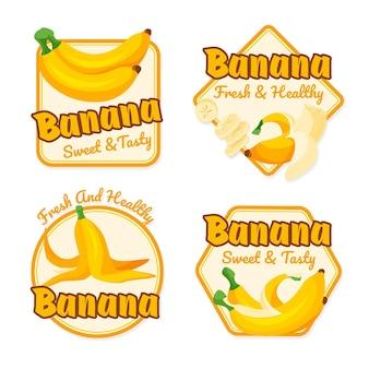 Coleção de logotipos de banana ilustrada