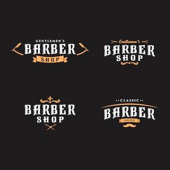 Coleção de logotipos de barbeiro vintage