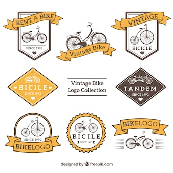 Coleção de logotipos de bicicleta em estilo vintage
