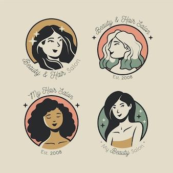 Coleção de logotipos de cabeleireiro desenhado à mão