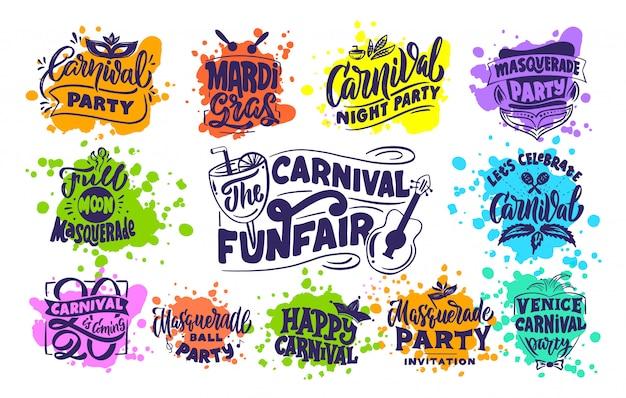 Coleção de logotipos de carnaval, selos, frases, composições de letras. grande conjunto de modelos de festival