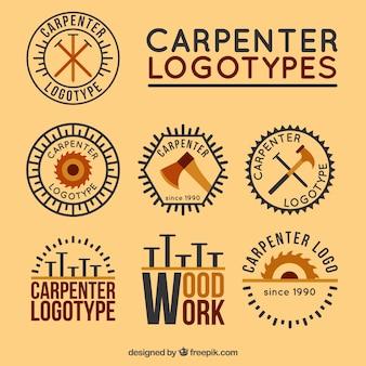Coleção de logotipos de carpintaria do vintage