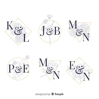 Coleção de logotipos de casamento do monograma