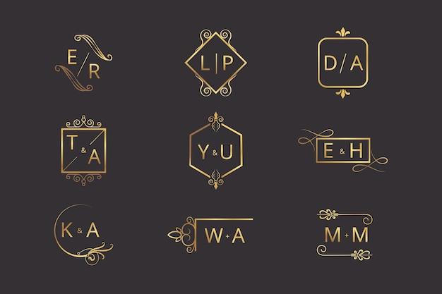 Coleção de logotipos de casamento elegante