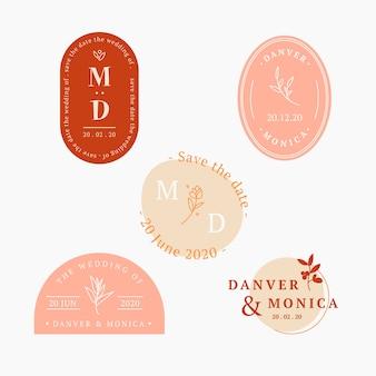 Coleção de logotipos de casamento em design plano